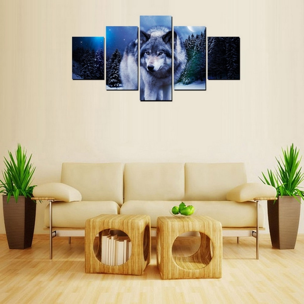 Animal Wall Art Regarding Well Known Mailingart Fiv407 5 Panels Animal Wall Art Painting Home Decor (View 4 of 15)