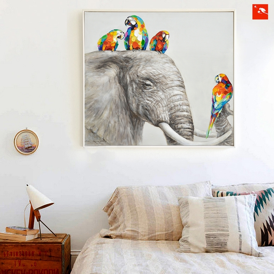 Animal Wall Art With Regard To Famous Animal Wall Art Elephant Zebra Abstract Parrot Hand Painted Oil (View 5 of 15)
