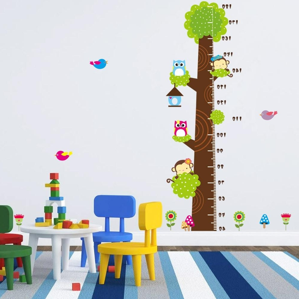 Animals Height Chart Decal Children's Room Baby Nursery Cartoon Throughout Most Up To Date Italian Nursery Wall Art (View 1 of 15)
