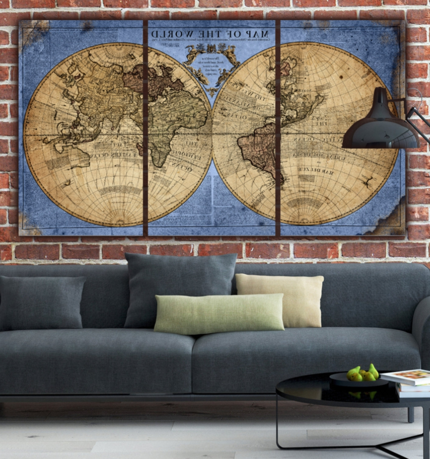 Antique Map Wall Art For Current Globe Tan Map World Map Canvas Vintage Map Set Large Wall (View 13 of 15)