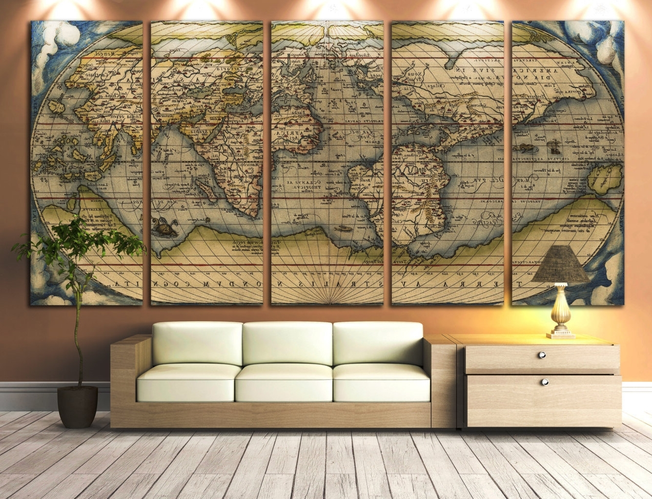 Antique Map Wall Art Pertaining To 2017 Large Wall Art World Map Canvas Print Vintage Throughout Large (View 2 of 15)
