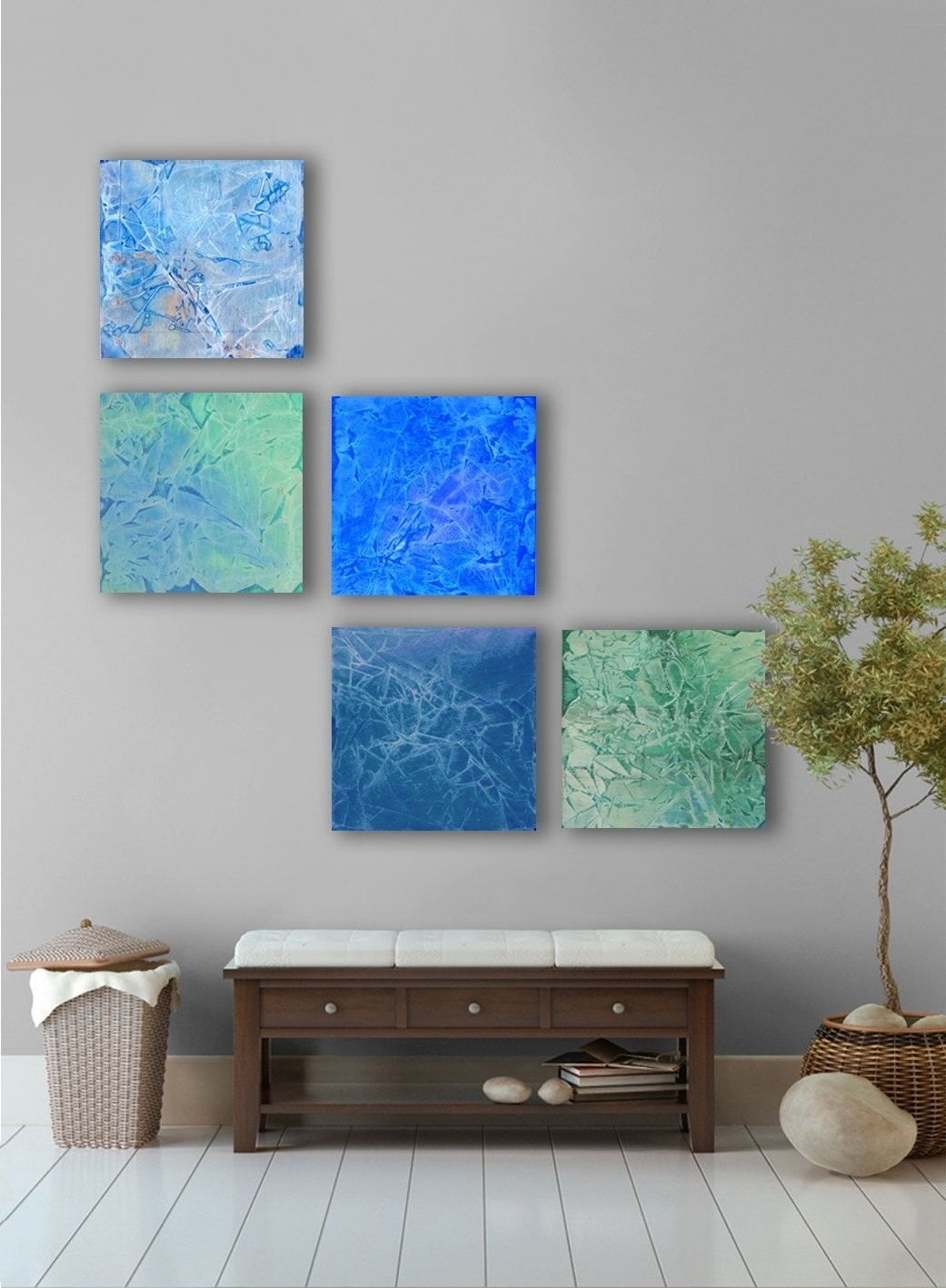April Rain Abstract Painting, 5 Square Custom Abstract Wall Art With Well Liked Blue Abstract Wall Art (View 2 of 15)