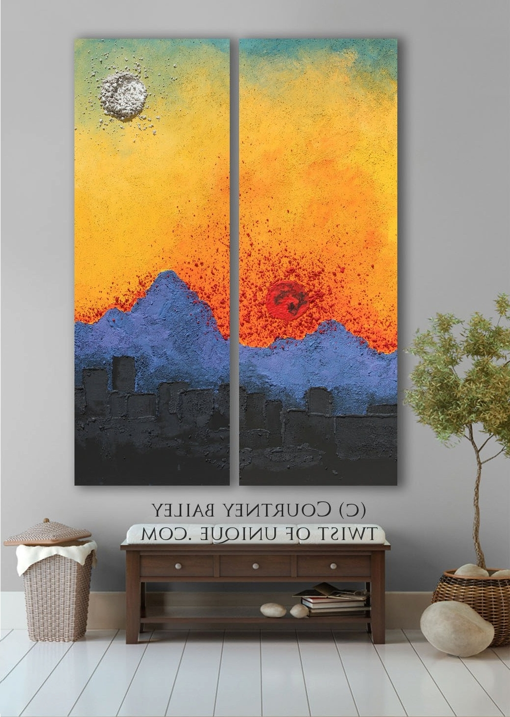 Arizona Sunset Abstract Artwork, Large Original Abstract Painting For 2018 Original Abstract Wall Art (View 7 of 15)