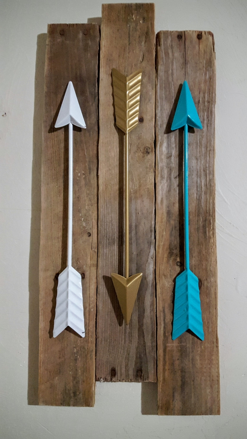Arrow Wall Decor / 3 Metal Arrows / Metal Wall Arrow Decor Intended For Well Liked Teal And Gold Wall Art (View 15 of 15)