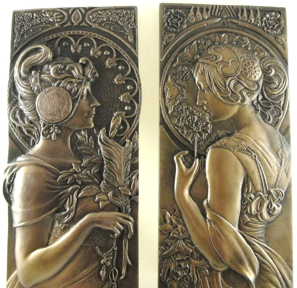 Art Deco Metal Wall Art For Well Known Pair Wall Plaques Art Nouveau Ladies Bronzed After Alphonse Mucha (View 14 of 15)