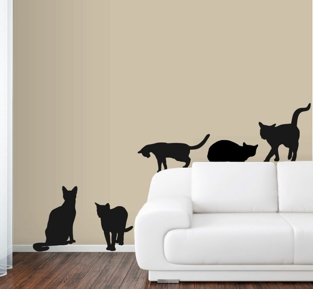 Art Deco Wall Decals With Most Recently Released 6 Cats Wall Decals In Life Size Deco Art Sticker Mural Color Black (View 4 of 15)