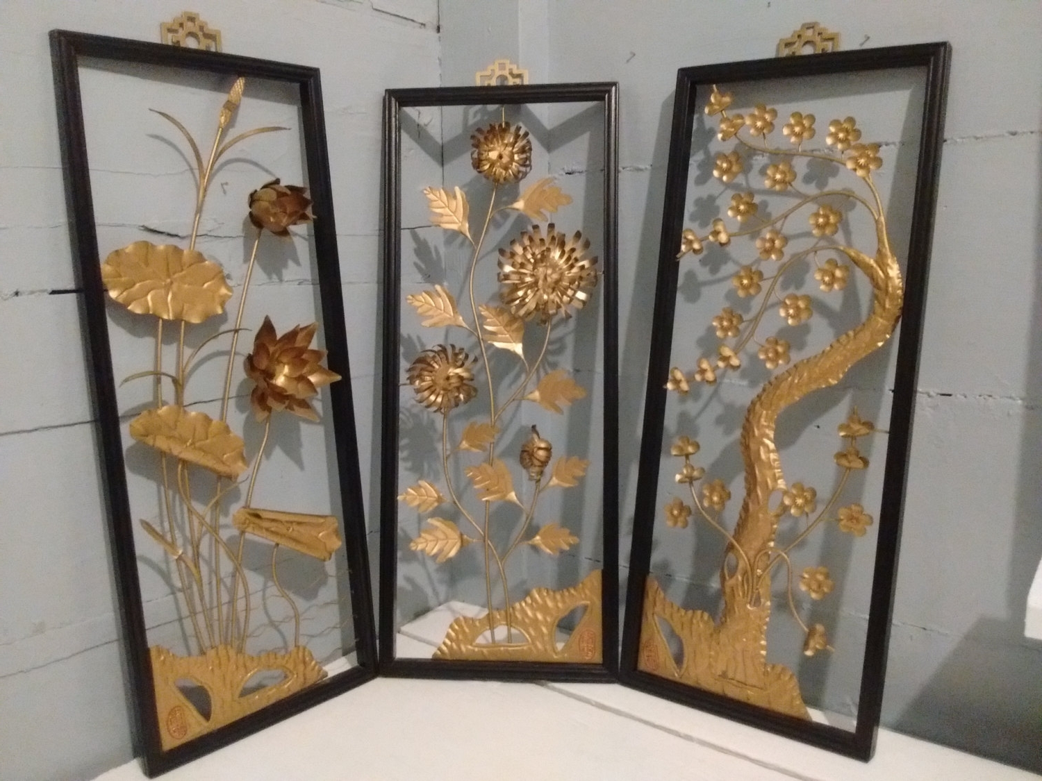 Art, Floral, Framed, 3D, Wall Art, Metal, Sculpture, Set Of 3, Mid With Regard To Current Asian Metal Wall Art (View 2 of 15)
