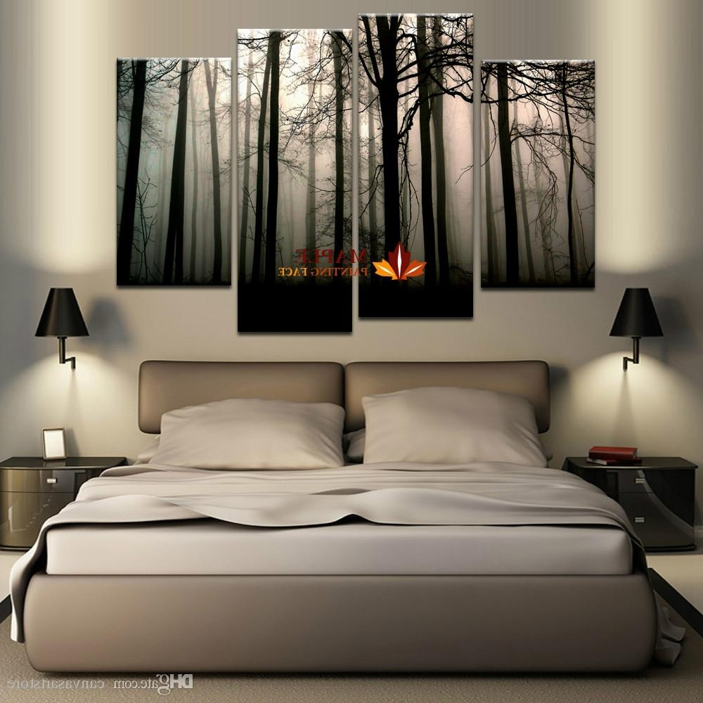 Art For Large Wall Throughout Most Current 2018 4 Panel Large Canvas Art Modern Abstract Hd Canvas Print Home (View 3 of 15)