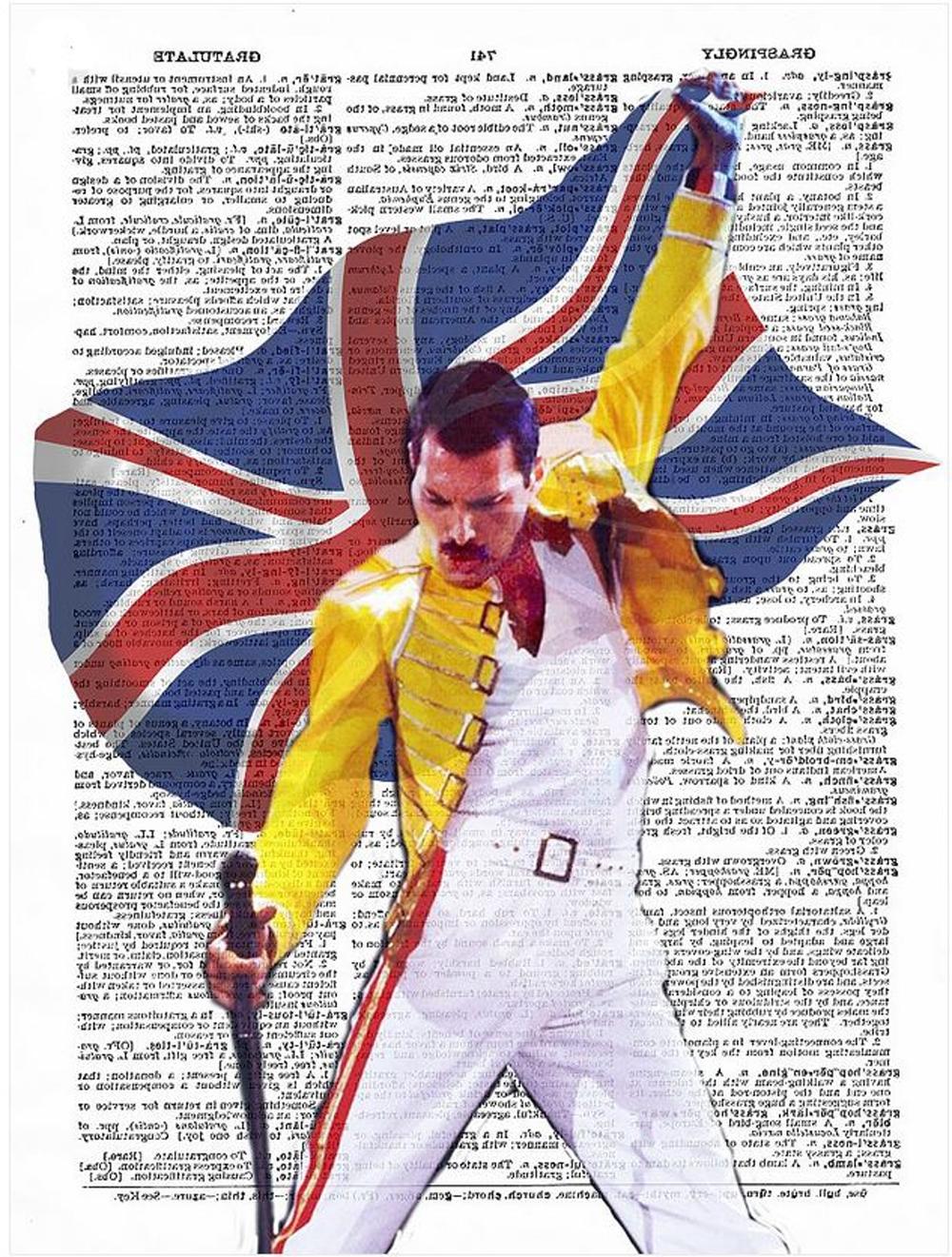Art N Wordz Queen's Freddie Mercury Original Dictionary Sheet Pop Regarding Latest Freddie Mercury Wall Art (View 2 of 15)