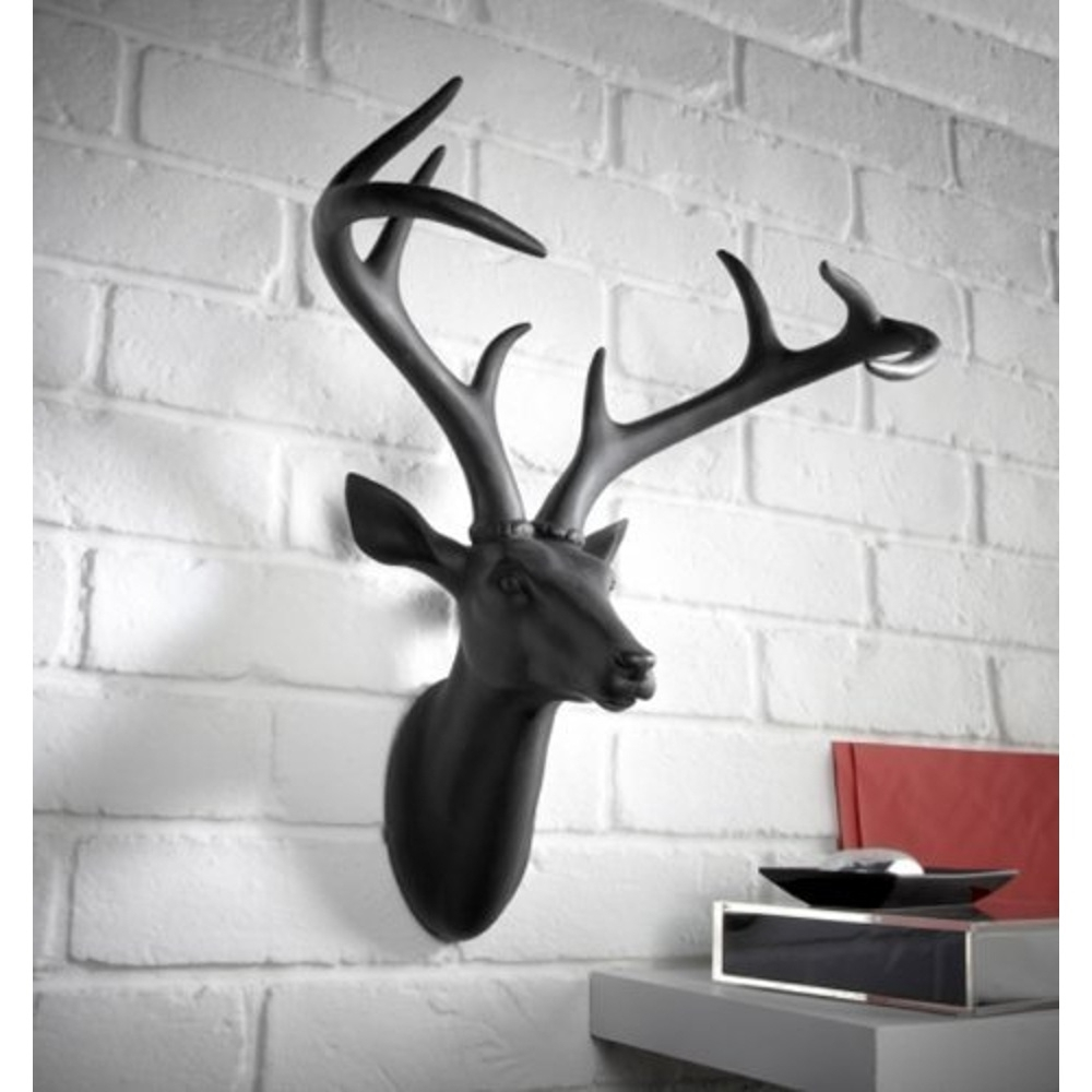 silver large sculpture product stag head decor stags zoom effect antique mounted wall
