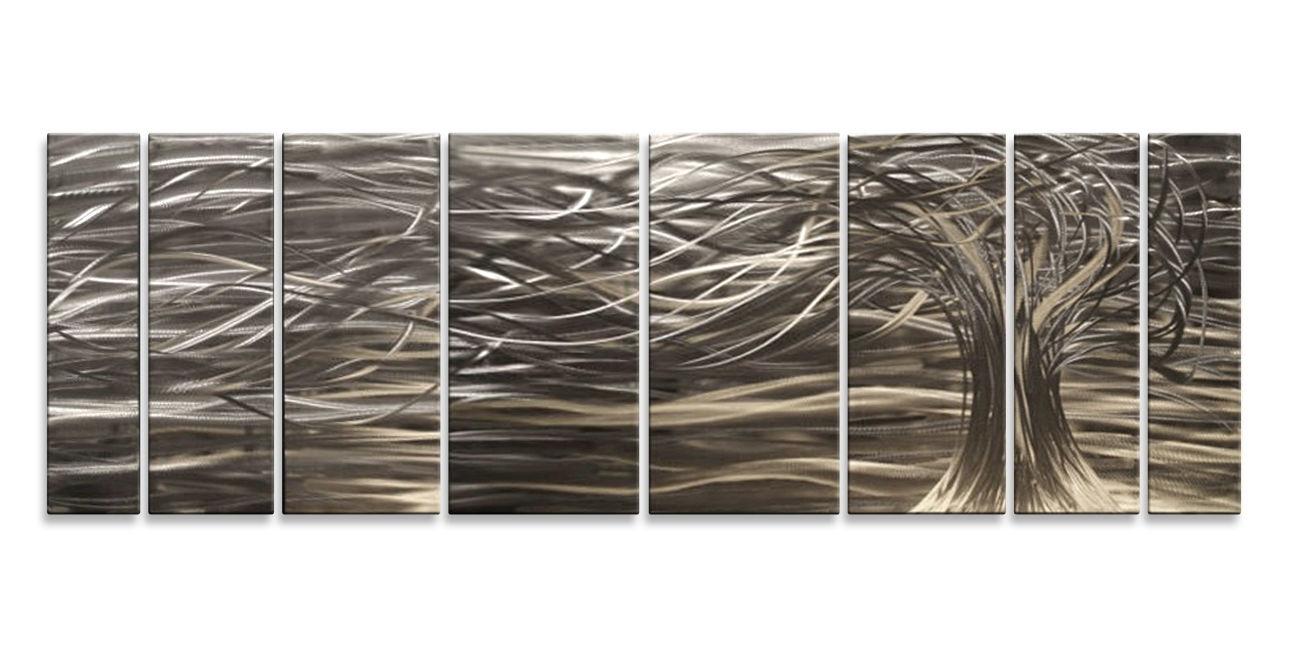Ash Carl Metal Art Pertaining To 2017 Contemporary 7 Panel Metal Wall Art Sculpturesash Carl Home (View 6 of 15)