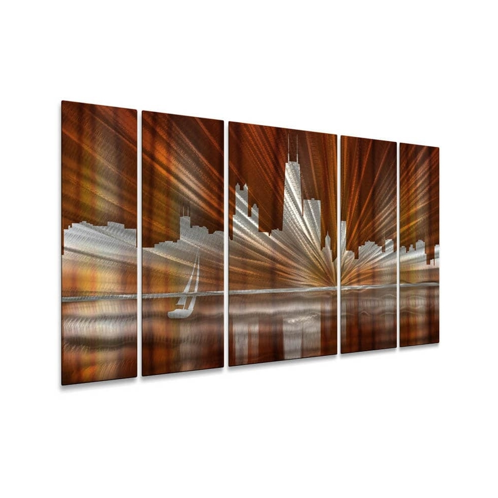 Ash Carl Metal Art Within Most Recent Ash Carl 'warm Chicago Skyline' Metal Wall Art – Free Shipping (View 11 of 15)