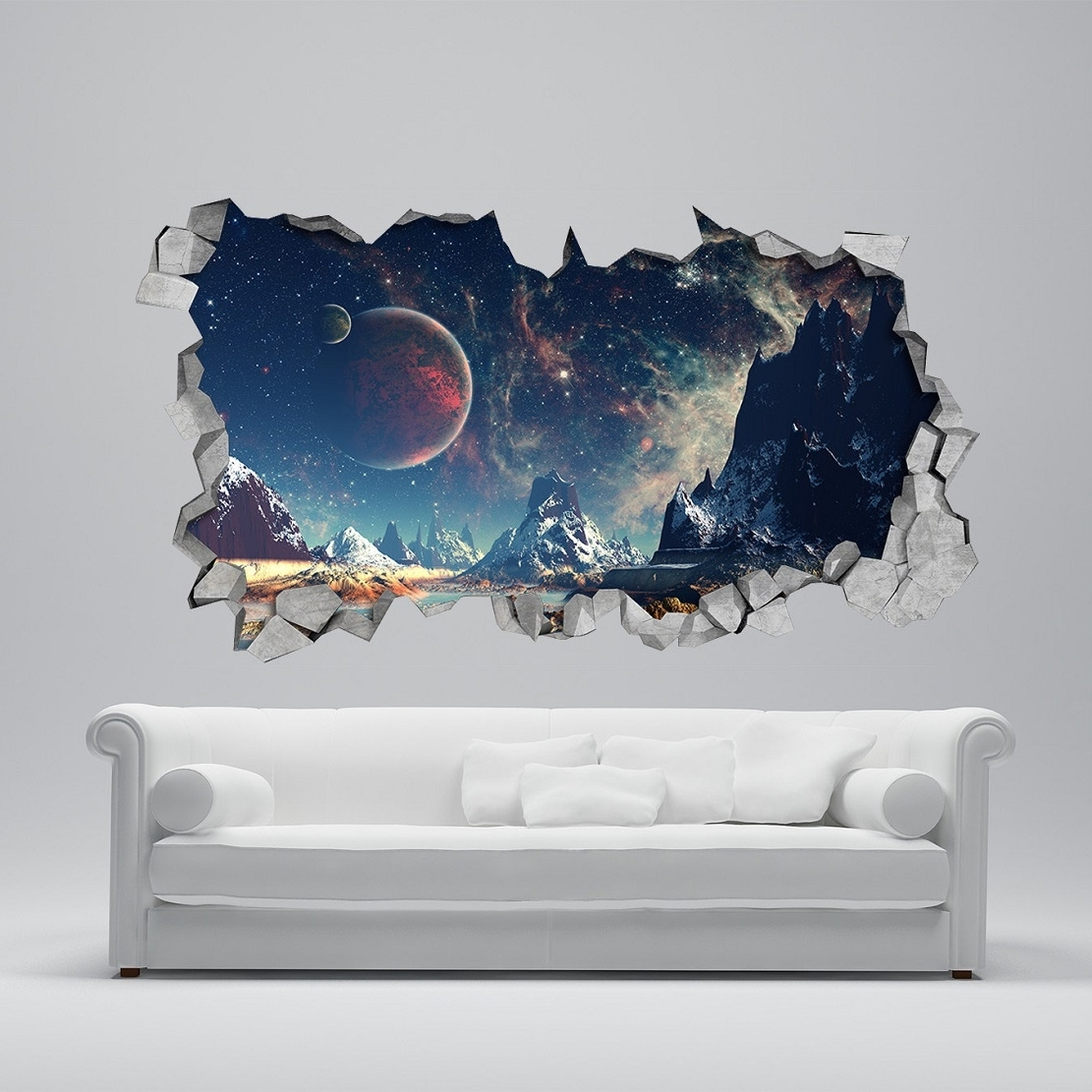 Astronaut 3D Wall Art Inside Famous 25 Unparalleled 3D Wall Art For Charming Home (View 3 of 15)