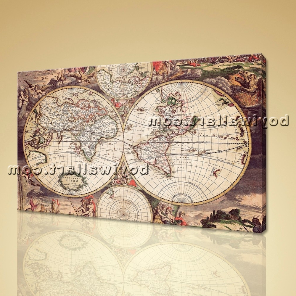 Atlas Wall Art Intended For Preferred Large Wall Art Print On Canvas World Map Retro Global Atlas Home Decor (View 2 of 15)