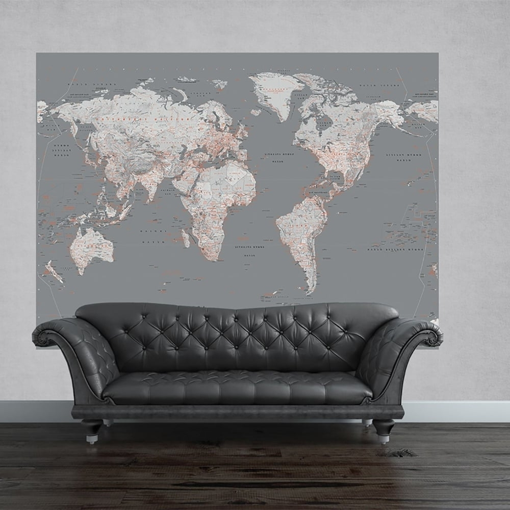 Atlas Wall Art Throughout Widely Used 1 Wall Silver Map Mural World Globe Atlas Wall Art 2.32 X  (View 3 of 15)