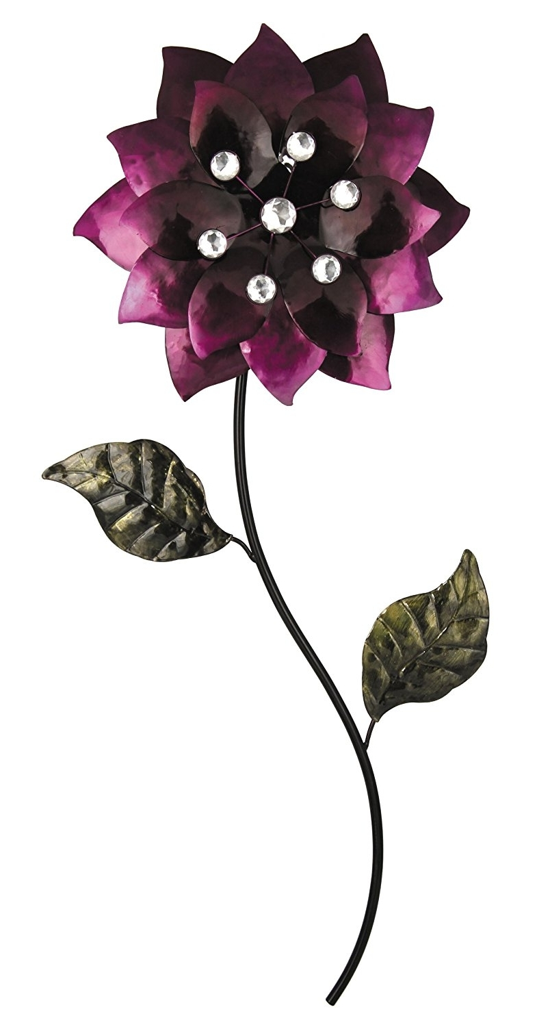 Aubergine Wall Art Inside Widely Used Pacific Home Metal Wall Art Aubergine Flower With Silver Beads And (View 14 of 15)