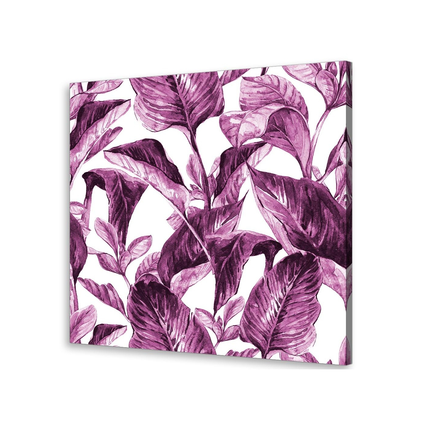 Aubergine Wall Art Within Famous Plum Aubergine White Tropical Leaves Canvas Wall Art – Modern 79Cm (View 7 of 15)