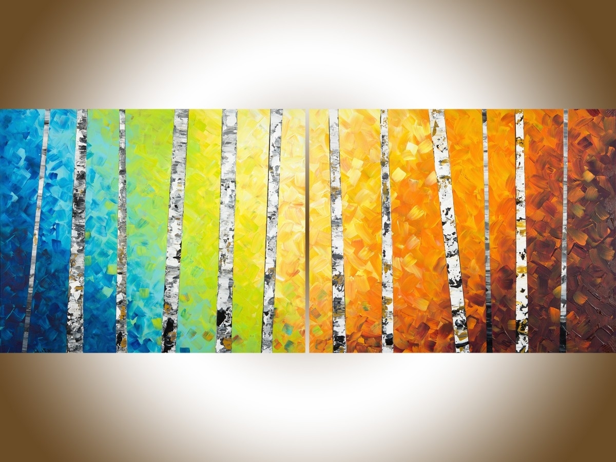 "Autumn Birch Trees Iiqiqigallery 54"" X 24"" Original Oil Pertaining To Favorite Yellow And Green Wall Art (View 1 of 15)"