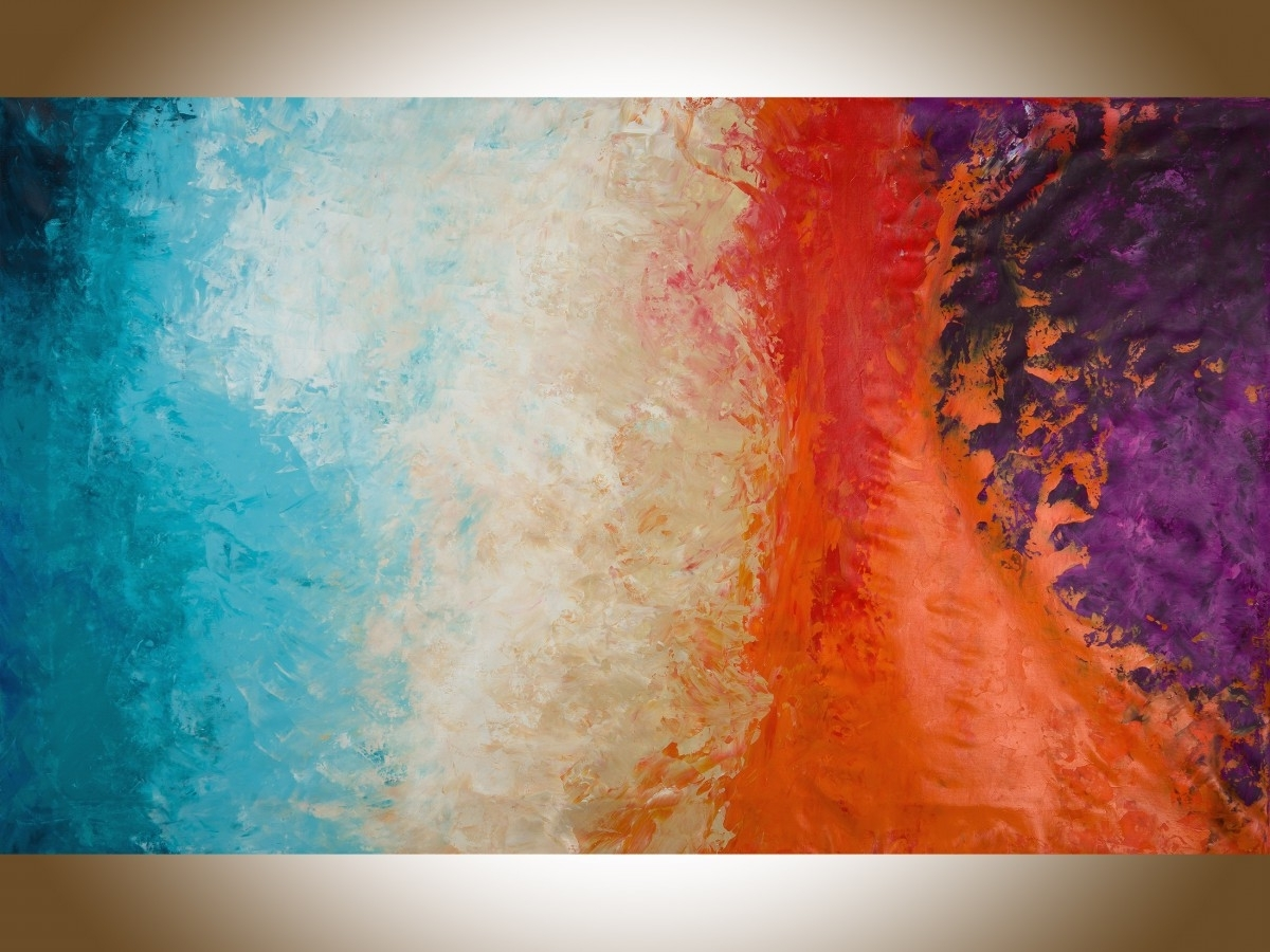"""Autumn Harvestqiqigallery 60""""x36"""" Un Stretched Canvas Original Regarding Preferred Red And Turquoise Wall Art (View 1 of 15)"""