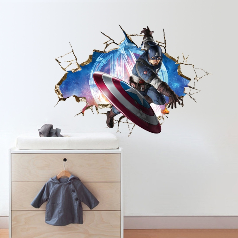 Avengers 3D Through Wall Stickers Decals Art For Baby Nursery Home In Most Recent Marvel 3D Wall Art (View 5 of 15)