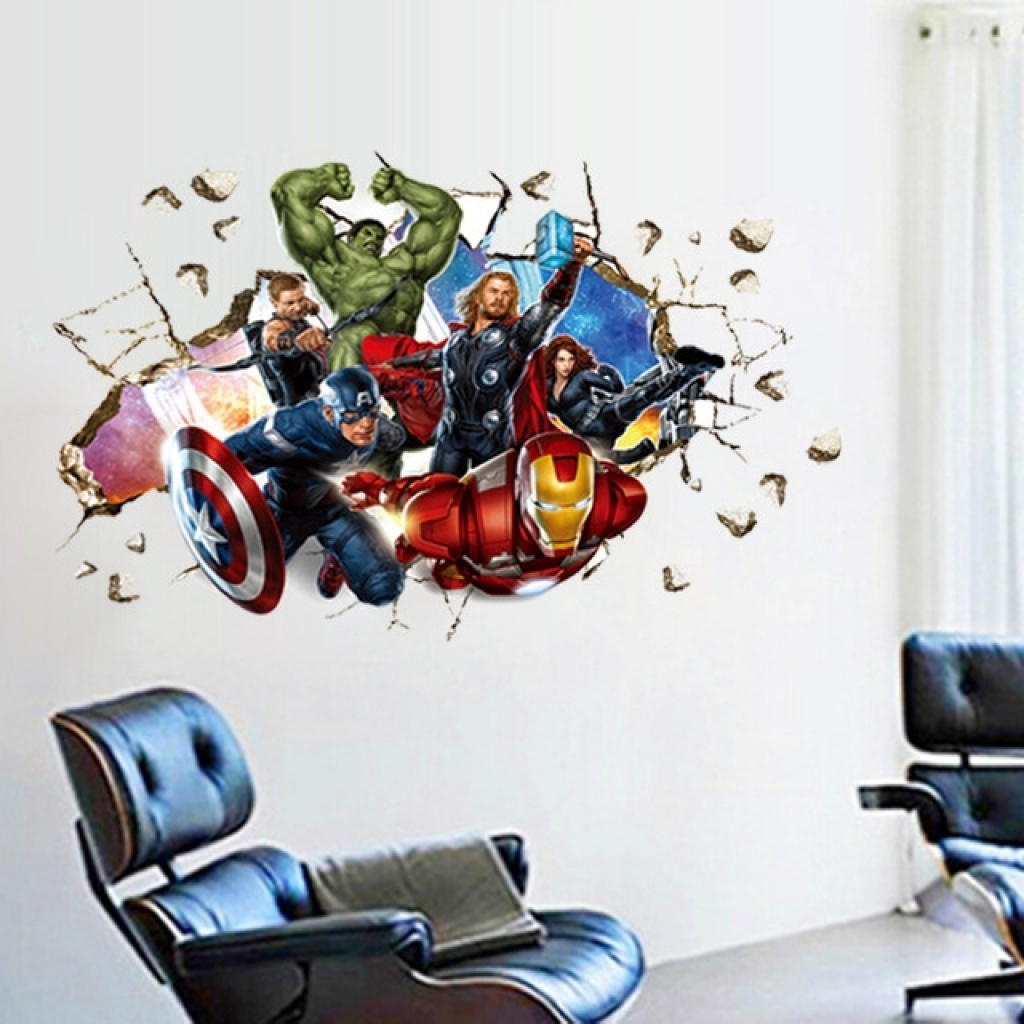 Avengers 3d Wall Art With Regard To Popular Aliexpress : Buy Movie 3d Wall Stickers Home Decor The Avengers (View 6 of 15)