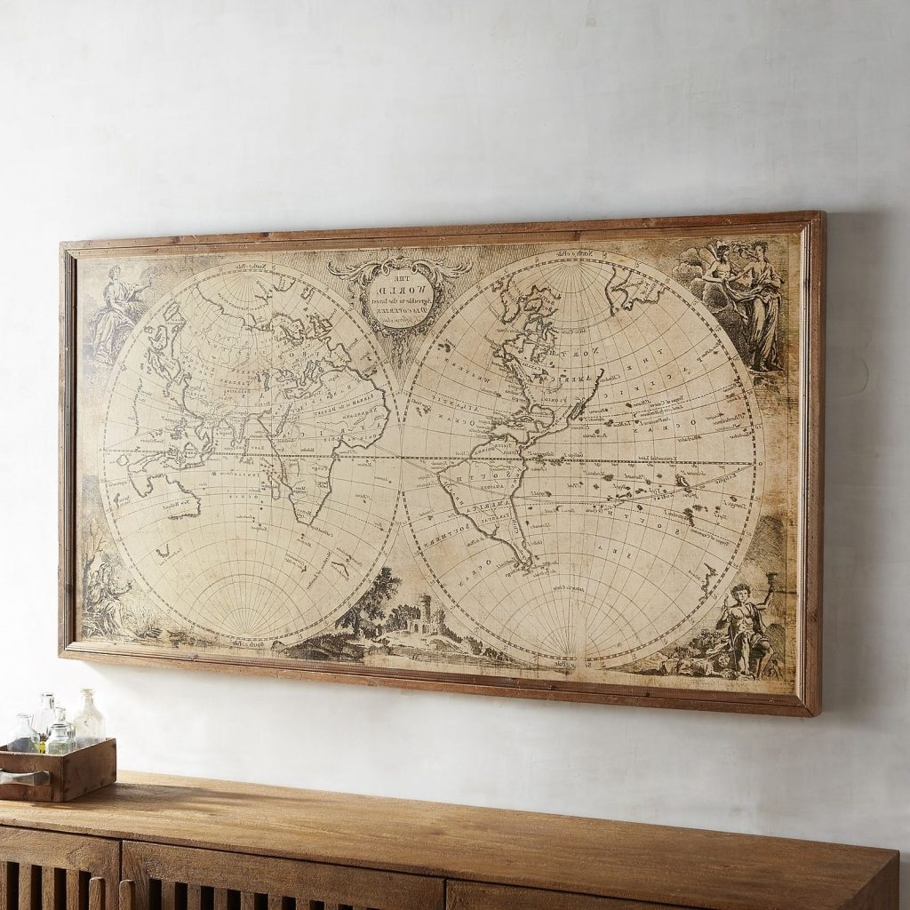 Awesome Map Wall Art Diy Canvas Ideas Uk Etsy Antique Maps Ikea Regarding Most Up To Date Antique Map Wall Art (View 2 of 15)