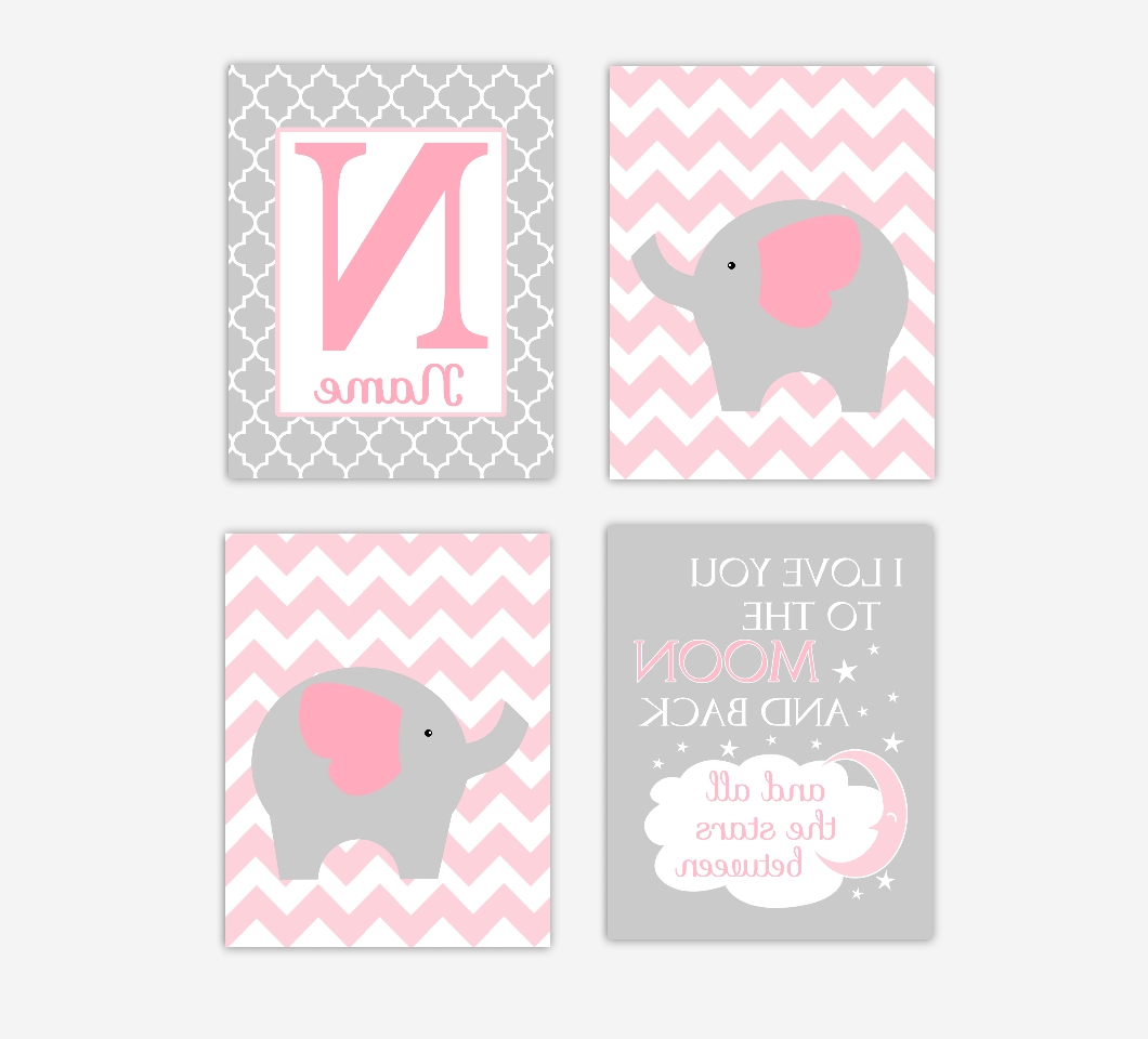 Baby Girls Nursery Canvas Wall Art Pink Gray Grey I Love You To With Regard To Preferred Love You To The Moon And Back Wall Art (View 3 of 15)