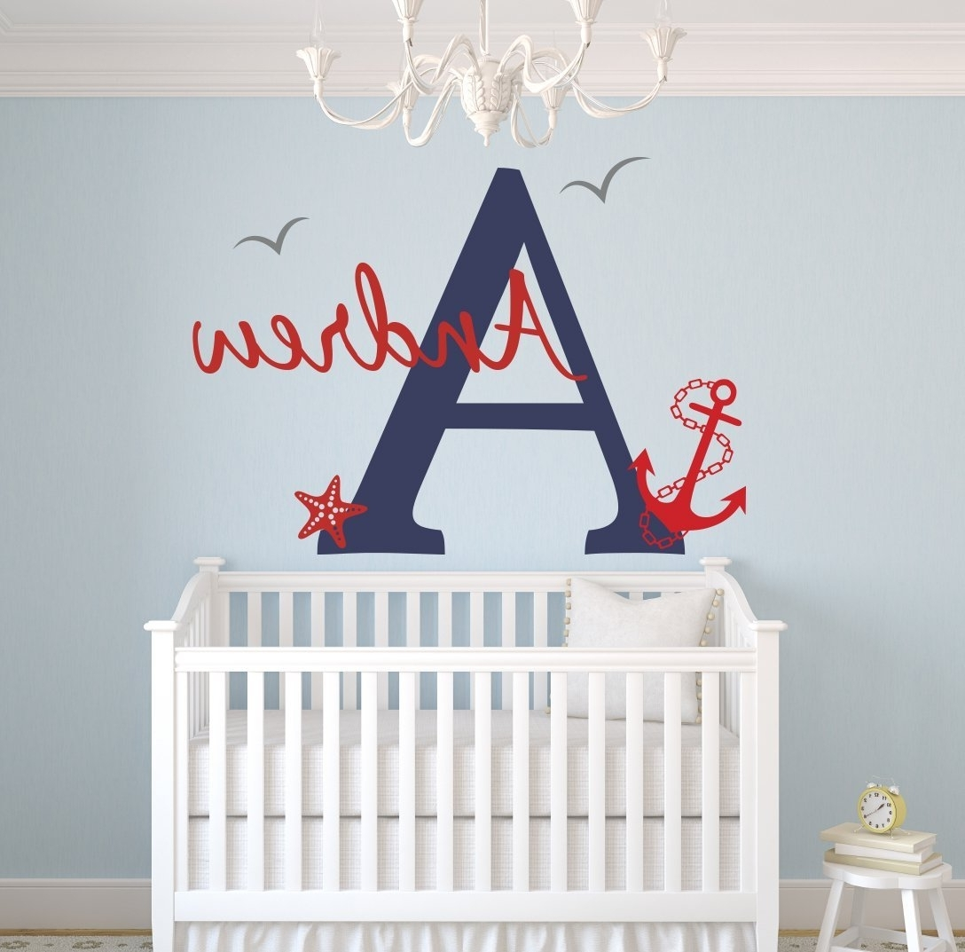 Baby Name Wall Art Inside Most Recent Lovely Decals World Llc Wall Decor: Custom Nautical Name Wall (View 2 of 15)
