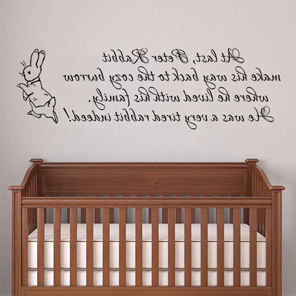 Baby Nursery Wall Decal Peter Rabbit Wall Sticker Vinyl Lettering With Regard To Current Peter Rabbit Wall Art (View 1 of 15)
