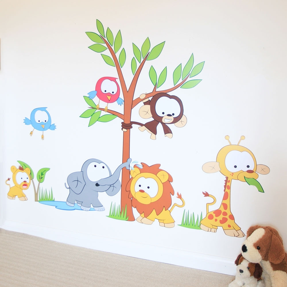 Baby Wall Art Within 2018 Wall Art Decor: Kids Baby Wall Art Stickers Nursery Jungle Scene (View 3 of 15)