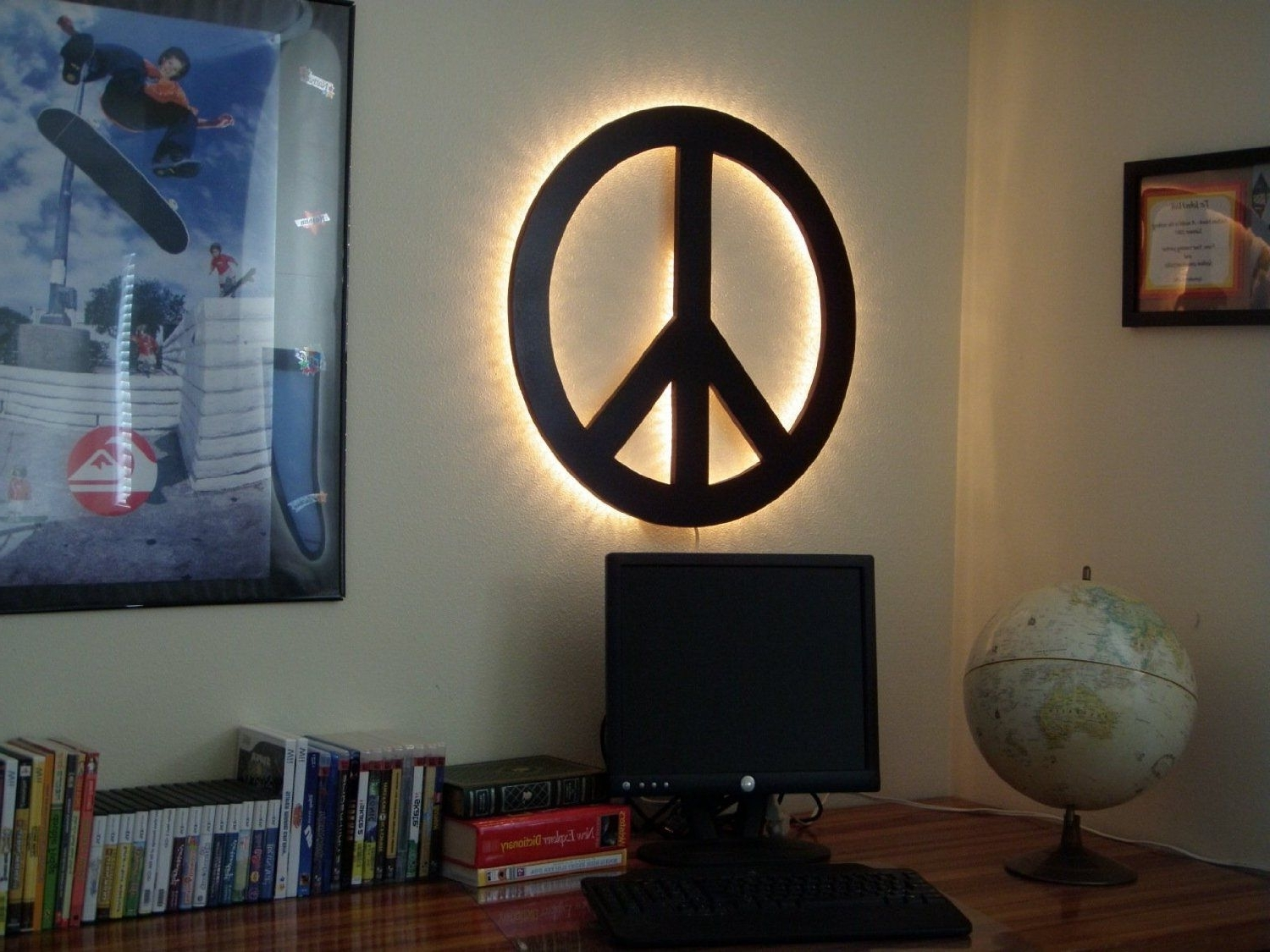 Backlit Wall Art Throughout Most Current Amazon: Peace Sign Wall Art, Backlit, Wood, Handcrafted In The (View 3 of 15)