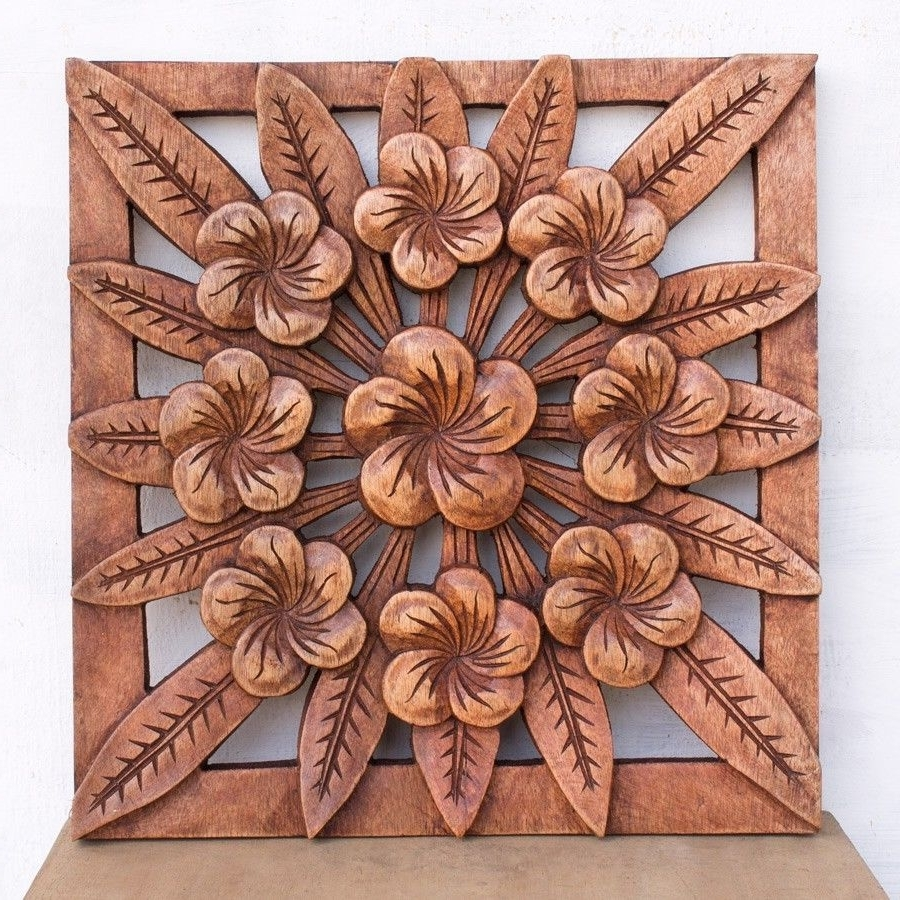 Balinese Wall Art With Most Recently Released Balinese Traditional Flowers Panel Wooden Carving Bali Wall Art (View 8 of 15)