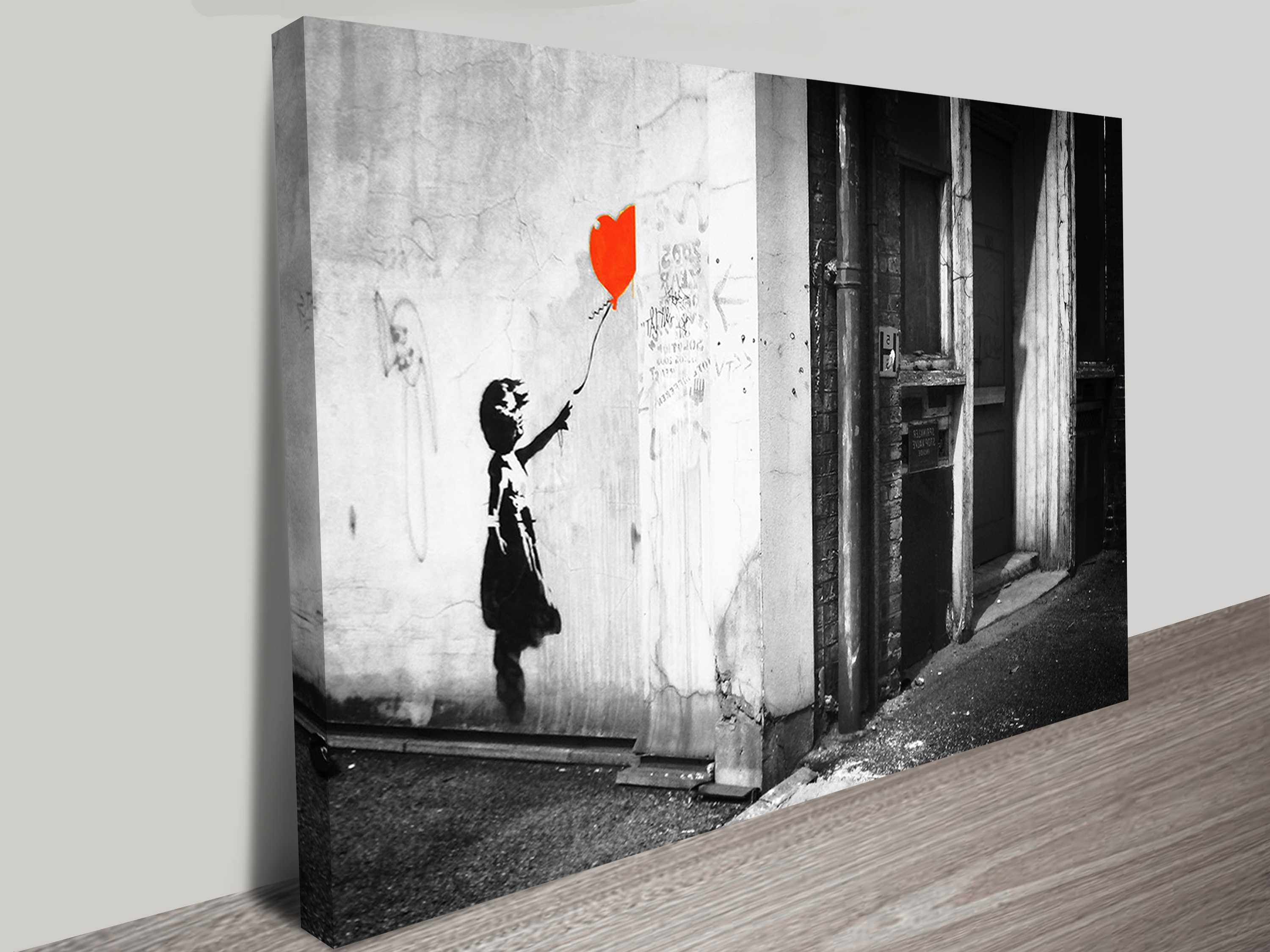 Banksy Balloon Girl Black & White Print On Canvas Regarding Well Known Banksy Wall Art Canvas (View 3 of 15)