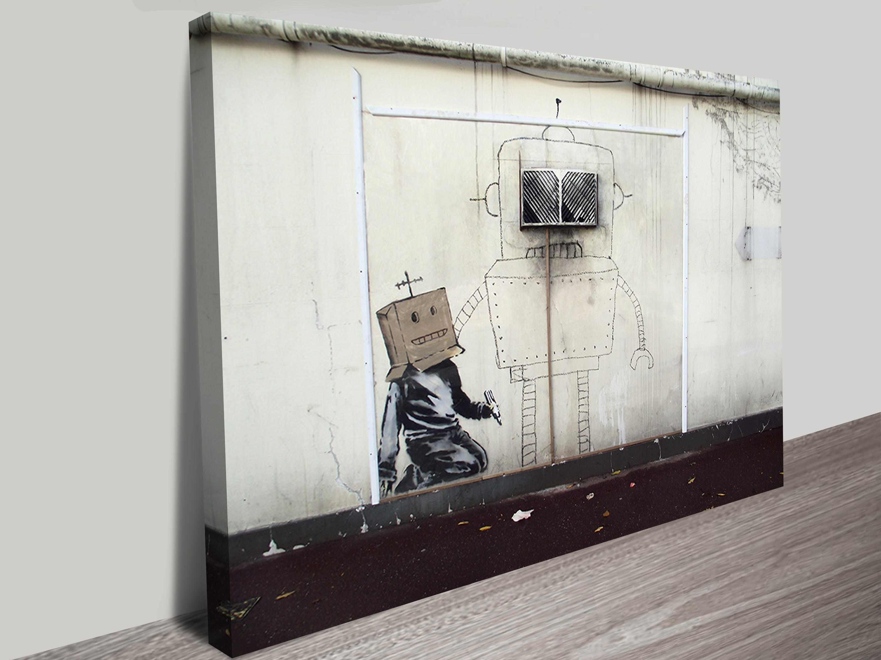 Banksy Canvas Art Torquay Robot Print With Regard To Favorite Banksy Canvas Wall Art (View 3 of 15)