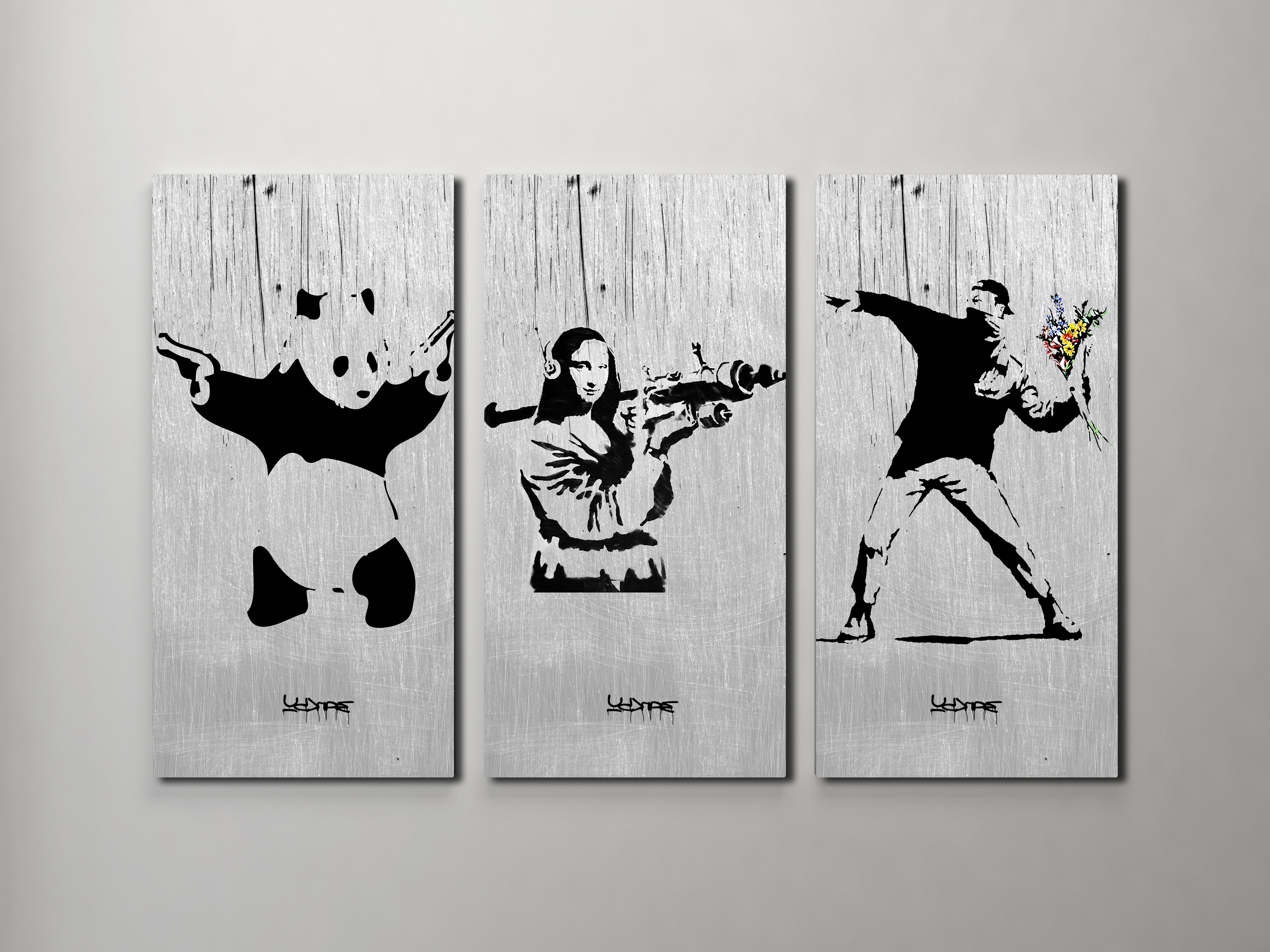 Banksy Canvas Wall Art Throughout Most Popular Banksy Flower Thrower, Mona Lisa, Panda Collage Triptych Canvas (View 9 of 15)