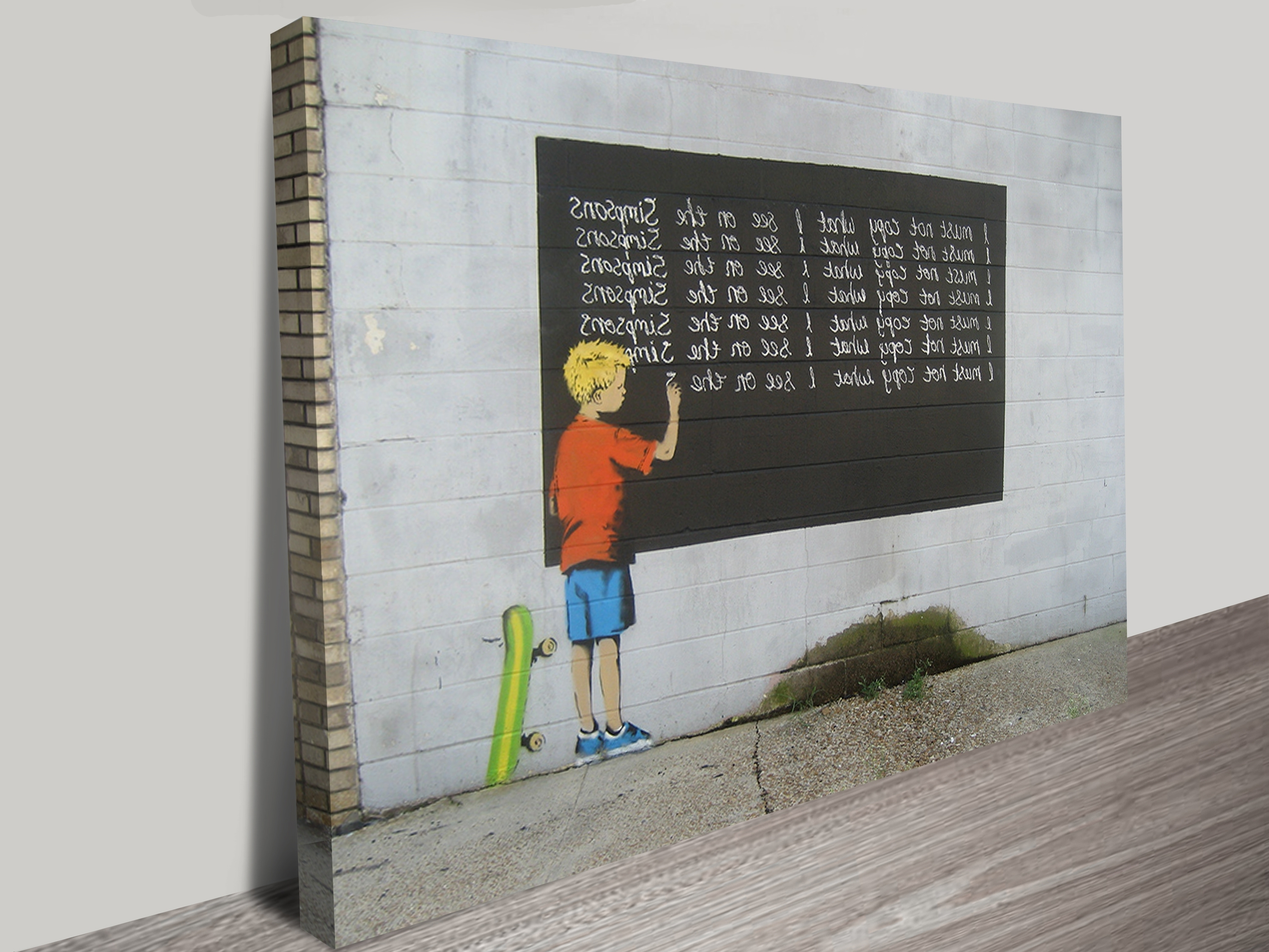 Banksy Simpsons Wall Art Print Inside Most Recently Released Banksy Canvas Wall Art (View 6 of 15)