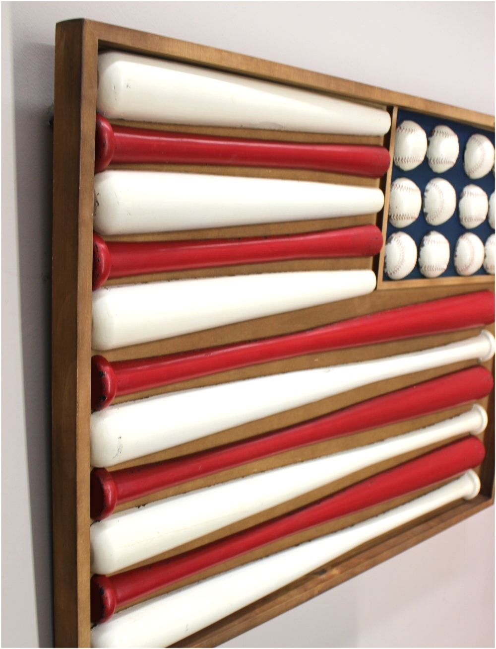Baseball 3D Wall Art Regarding Well Liked Wooden Flag Shaped Stars And Stripes Baseball Wall Art W Bats (View 1 of 15)