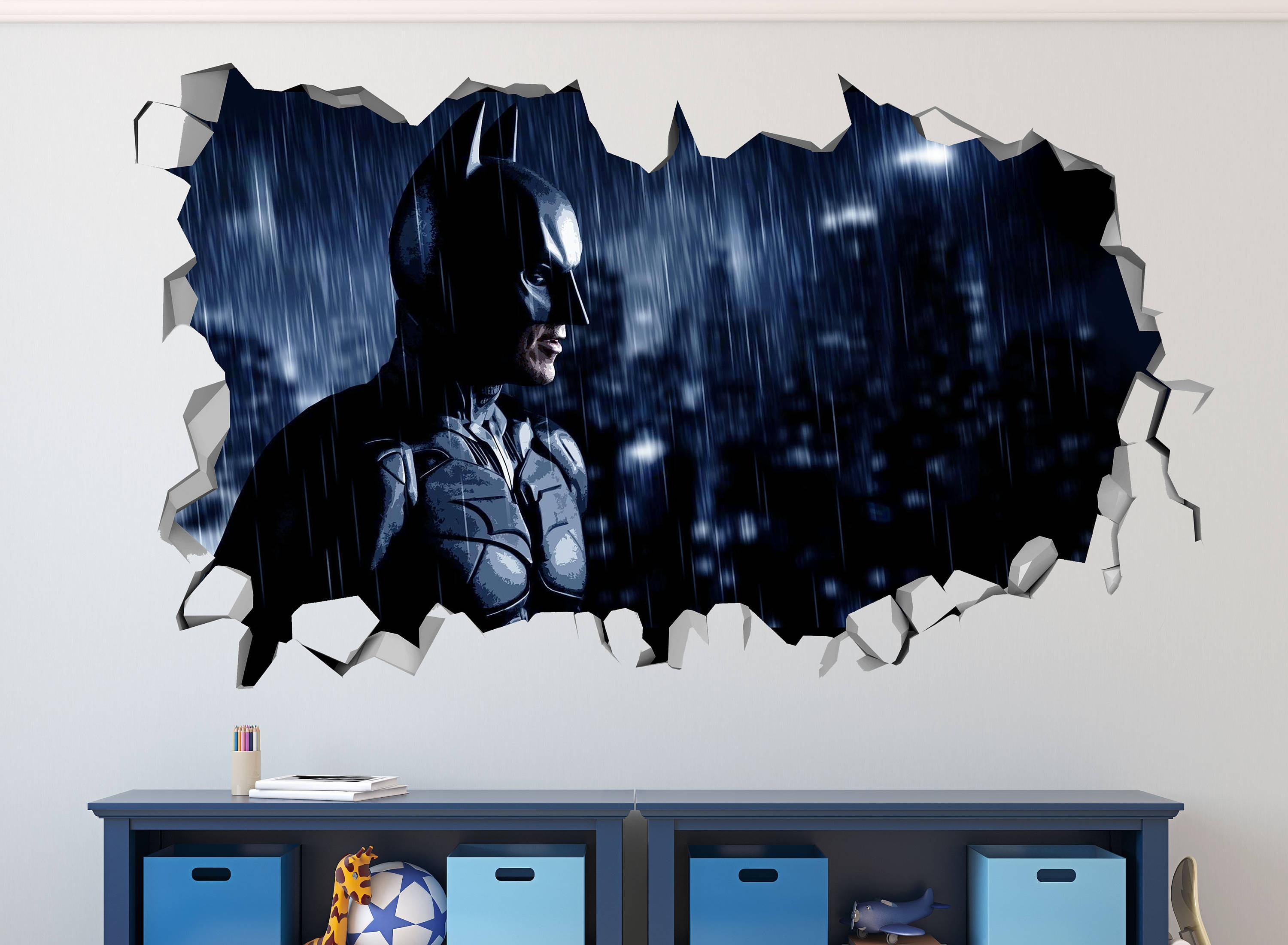 Batman 3D Wall Art For Most Recent Batman Smashed 3D Wall Decal Kids Sticker Art Decor Vinyl Mural (View 2 of 15)
