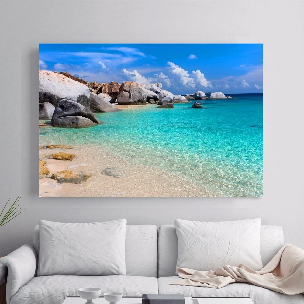 Beach 3d Room Wallpaper Landscape Canvas Art Print Painting Poster Within Current Beach 3d Wall Art (View 14 of 15)