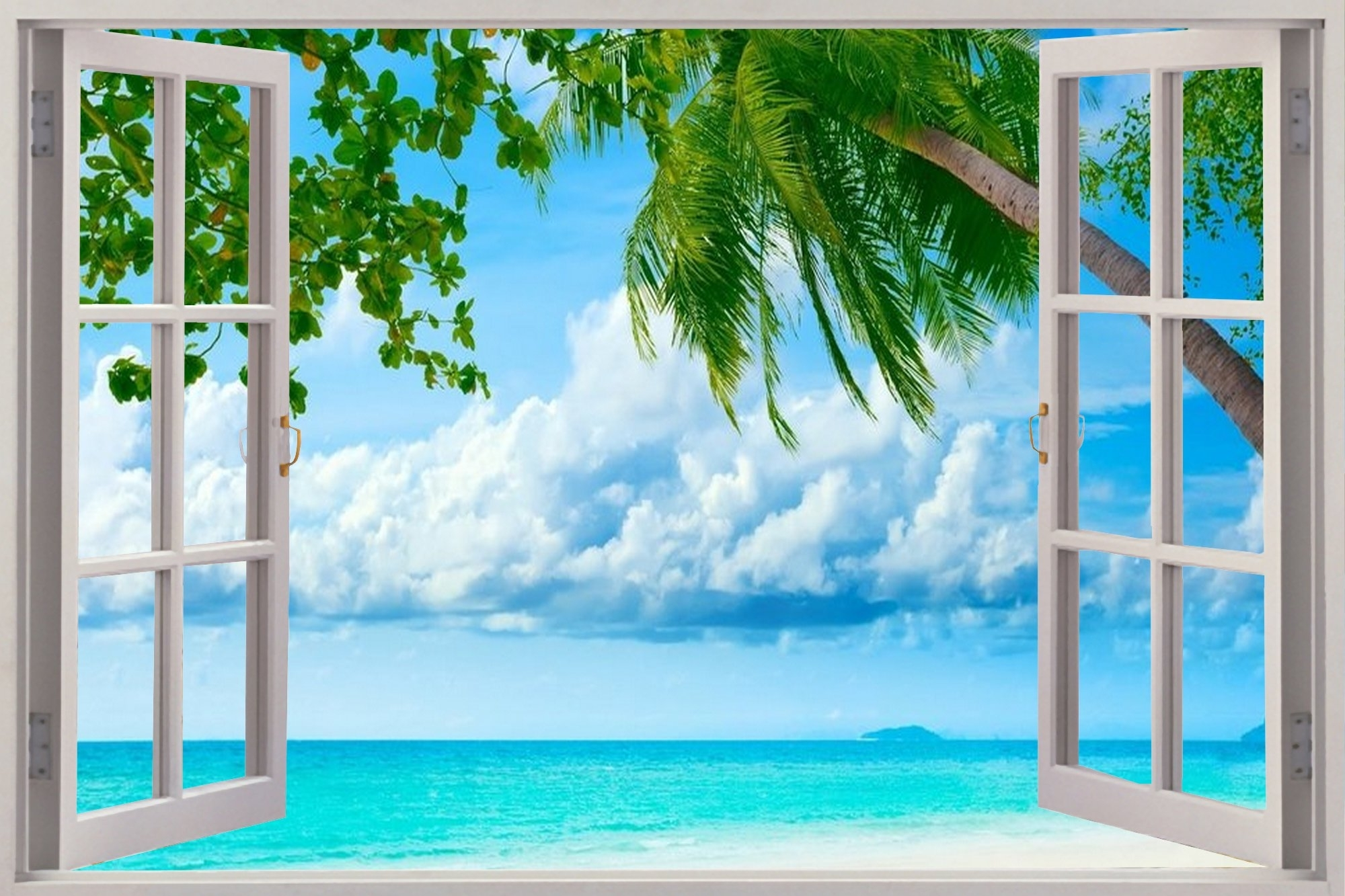 Beach Pertaining To 3d Wall Art Window (View 9 of 15)