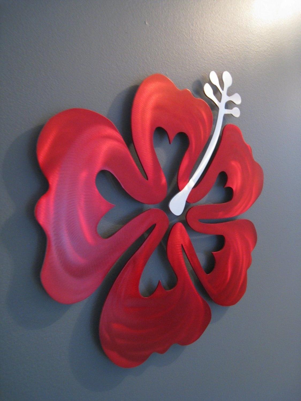 Beach Theme Bedroom Regarding Red Flower Metal Wall Art (View 1 of 15)