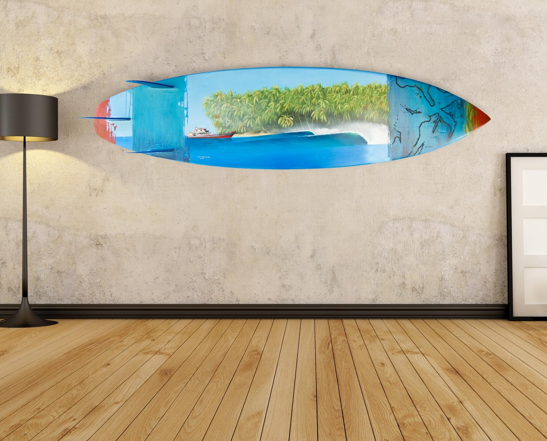 Beach Theme Wall Art Throughout Well Liked Wall Art Ideas Design : Blue Ocean Surf Board Wall Art Beach Theme (View 3 of 15)