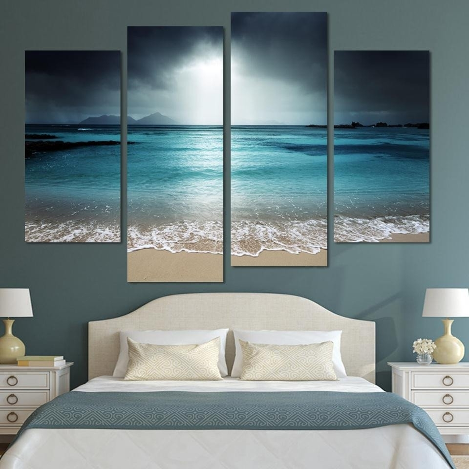 Beach Wall Art Pertaining To Most Recently Released 4 Panels Beach At Twilight Canvas Print Painting Wall Art Home (View 14 of 15)