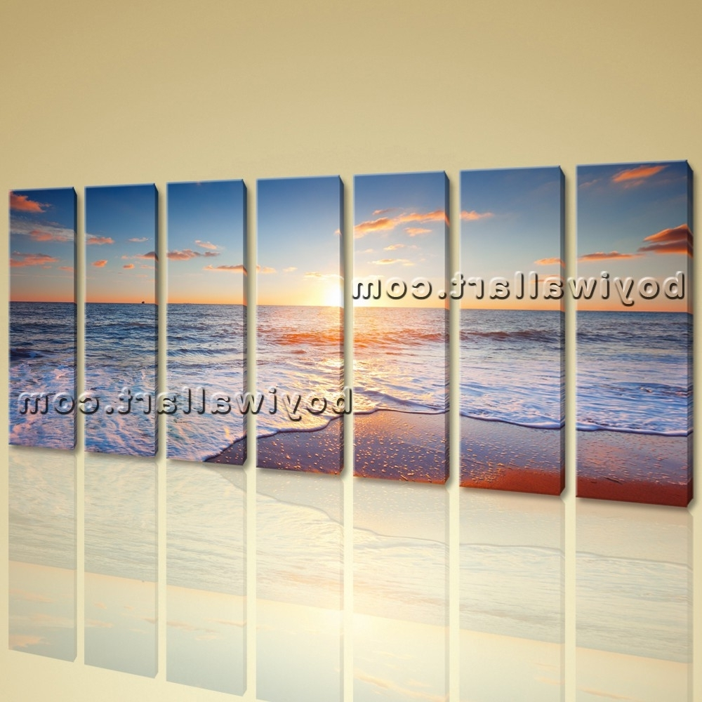 Beach Wall Art Throughout Recent Hd Canvas Print 7 Pieces Framed Beach Wall Art Sunset Sea Wave (View 11 of 15)