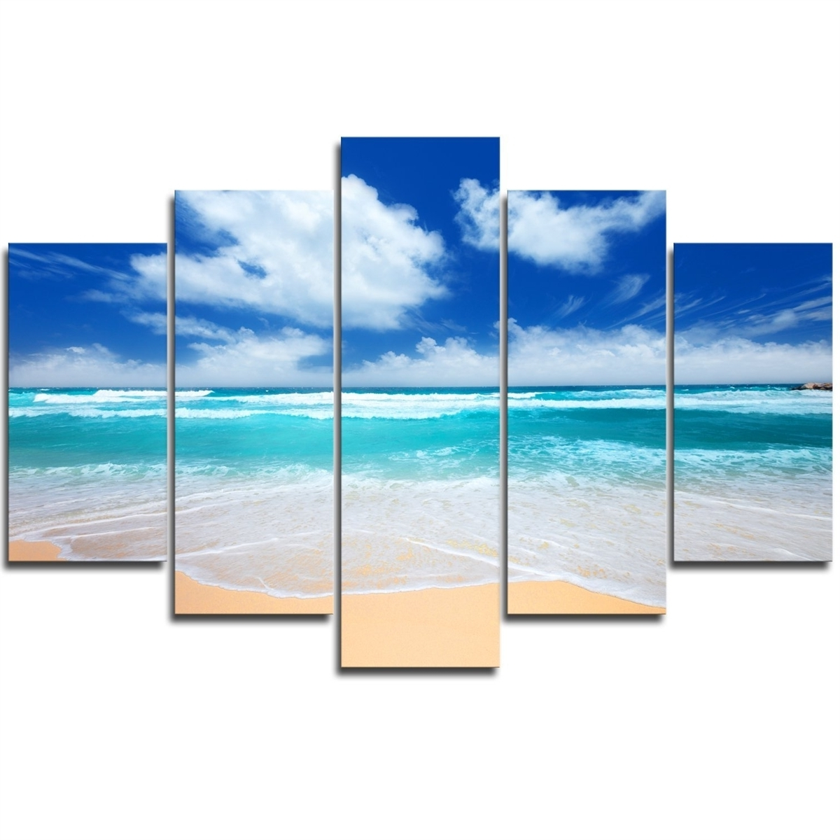 Beach Wall Art With Well Known Piece Framed Canvas Beach Wall Art Sunrise Beach Seascape (View 5 of 15)