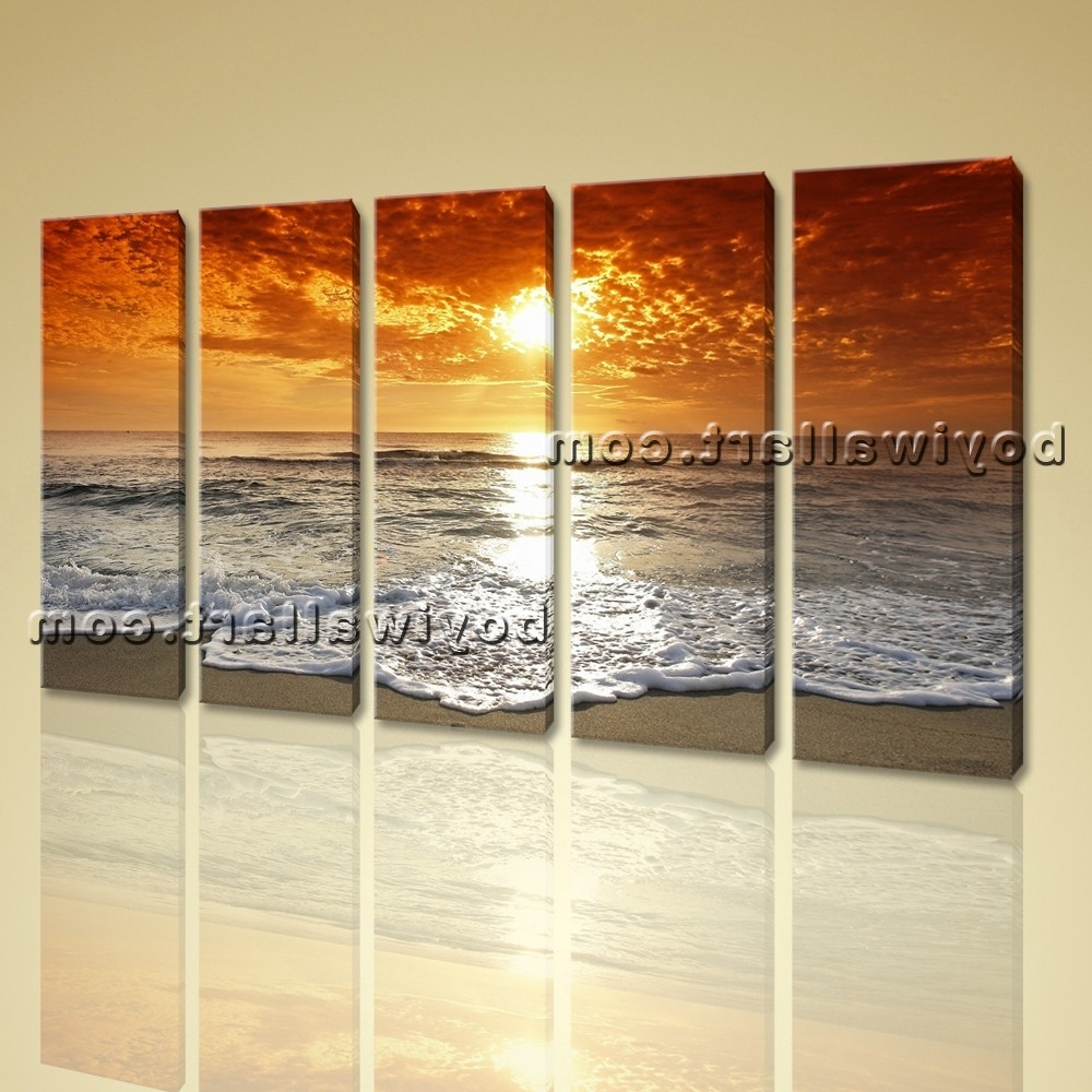 Beach Wall Art Within Recent Hd Canvas Print 5 Pieces Framed Beach Wall Art Sunset Seascape Sea (View 6 of 15)