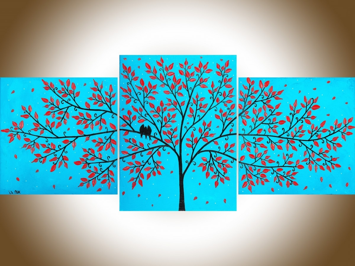 "Beautiful Lifeqiqigallery 36""x16"" Original Tree And Love Birds Inside Favorite Red White And Blue Wall Art (View 2 of 15)"