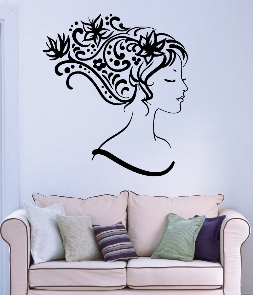 Beauty Salon Vinyl Wall Decal Sexy Girl Abstract Hair Salon Flower Intended For 2018 Abstract Art Wall Decal (View 8 of 15)