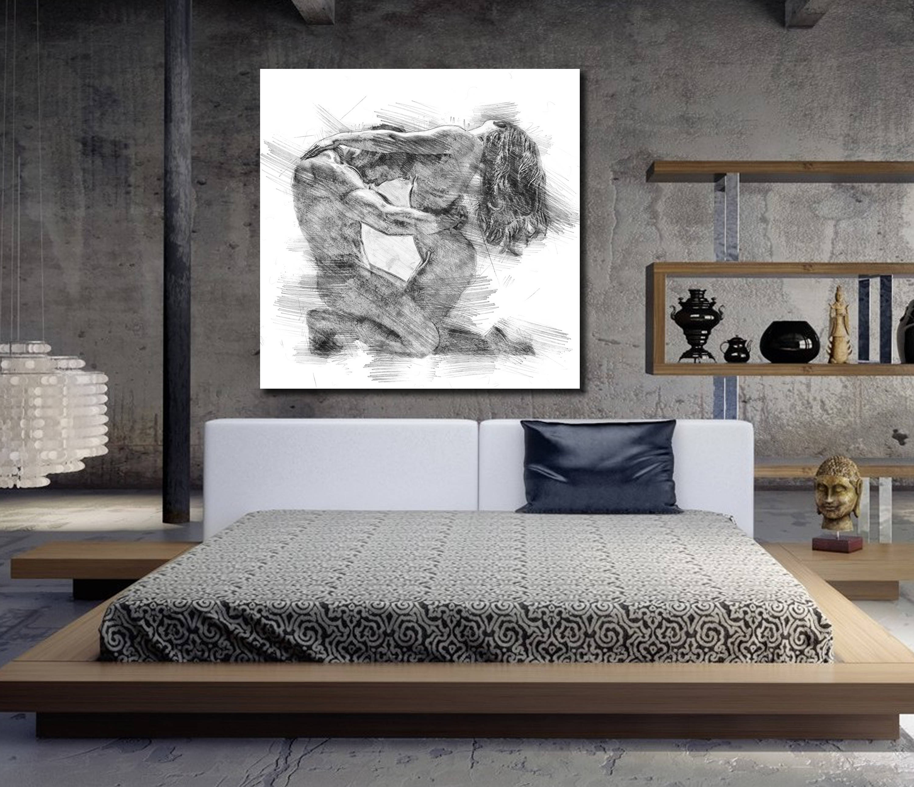 Bed Wall Art For Preferred Canvas Art His & Hers Bedroom Wall Art, Abstract Art Print, Pencil (View 2 of 15)
