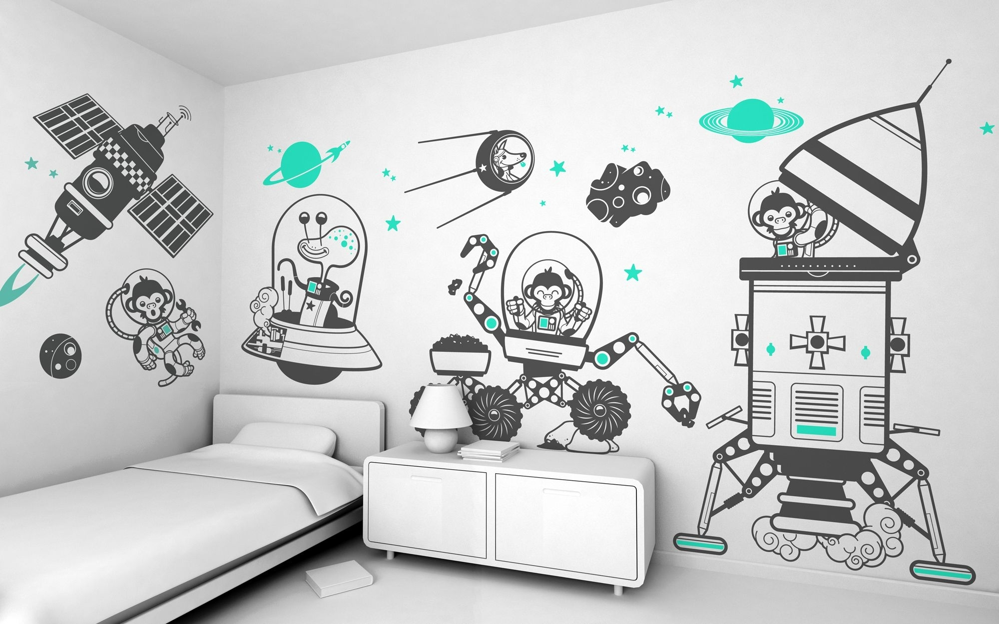 Bedroom : Childrens Bedroom Wall Decals Art Stickers For Boys As Regarding Most Popular Wall Art Stickers For Childrens Rooms (View 3 of 15)